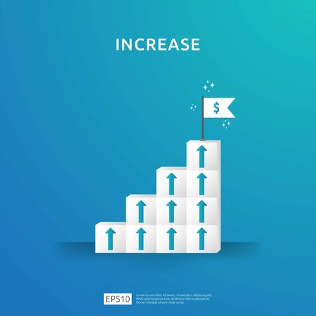 Illustration pour Growth business increase concept with stacking block. step stair ladder with arrow up vector illustration for success process, rise income salary rate, finance performance of return on investment ROI - image libre de droit