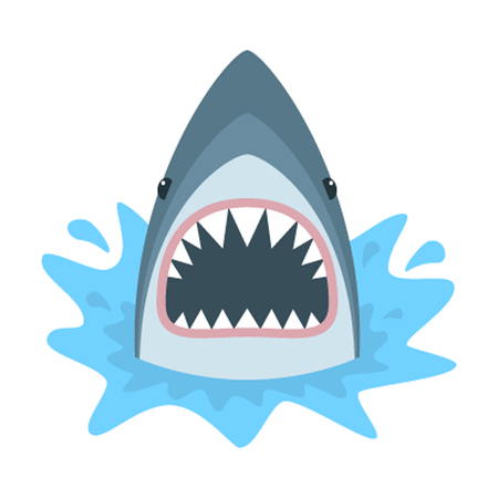 Ilustración de Shark with open mouth. Shark isolation on a white background. Shark Face with teeth and jaw. - Imagen libre de derechos