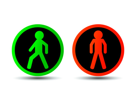 Illustration pour Traffic signs with a man flat vector illustration isolated - image libre de droit