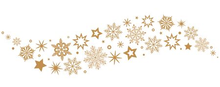 Illustration pour A gray whirlwind of golden snowflakes and stars. New Year's element. black and white background - image libre de droit