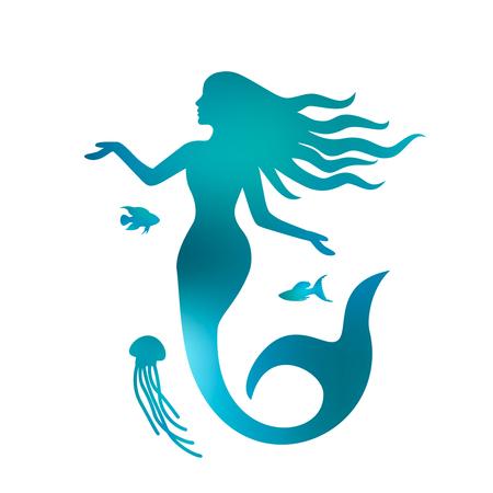 Ilustración de Silhouette of a beautiful mermaid with long hair under the water. black and white background - Imagen libre de derechos
