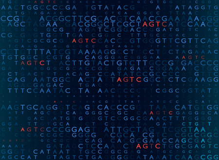 Illustrazione per DNA sequencing by the formula AGTC. modern medical background. vector illustration - Immagini Royalty Free