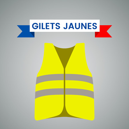 Illustration pour Yellow vests (Gilets Jaunes) - a symbol of a strike in France against taxes on fuel. flat vector illustration isolated on light background. - Vector illustration - image libre de droit