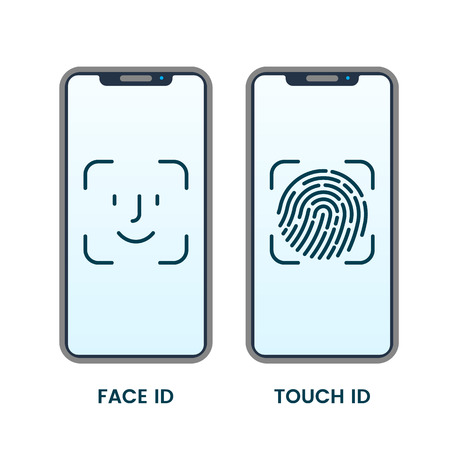 Illustration pour Face ID or Fingerprint Detector on Smartphone Touch Screen. vector illustration isolated on white background - image libre de droit