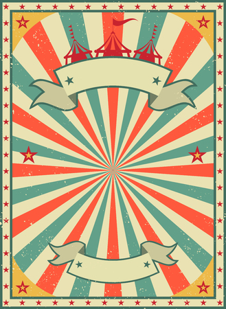 Ilustración de Old shabby American circus billboard in retro style. Vintage advertising poster with rays and aged background and ribbon. flat vector illustration - Imagen libre de derechos