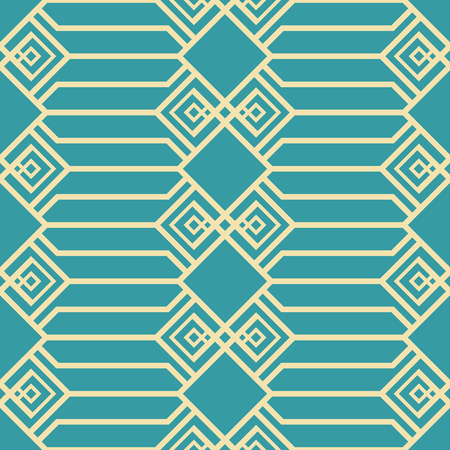 Illustration pour Abstract seamless geometric pattern in blue and yellow colors. Large lattice with openwork elements. Vector tracery for fabric, paper and other - image libre de droit
