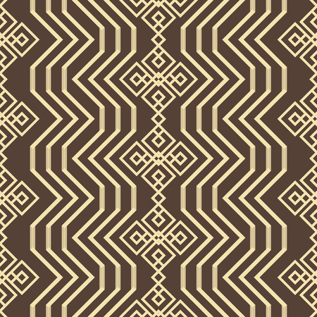 Illustration pour Abstract seamless geometric pattern in brown and yellow colors. Endless geometric vector tracery with openwork elements - image libre de droit
