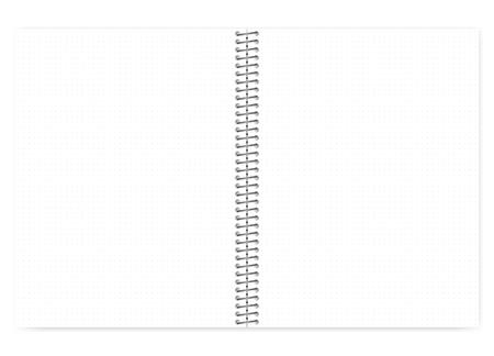 Ilustración de Open dot grid wire bound notebook with metal spiral, realistic vector mock up. Loose leaf letter format notepad spread, template - Imagen libre de derechos