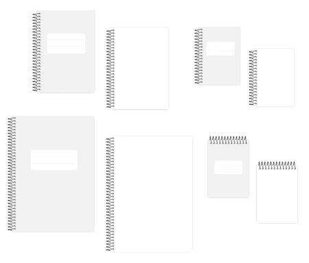 Illustration for Blank wire bound notebook with tear off sheets, vector mockup set. A4, A5, A6 size. Empty spiral notepads: clear white page and cover, template - Royalty Free Image