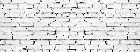 Photo pour Wide white brick wall texture. Old rough whitewashed brickwork. Grunge background - image libre de droit