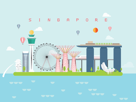 Photo for Singapore Famous Landmarks Infographic Templates for Traveling Minimal Style and Icon, Symbol Set Vector Illustration Can be use for Poster Travel book, Postcard, Billboard. - Royalty Free Image