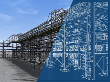 Foto de Shiny overpass for cables, gas and oil pipelines from columns, beams and ties. Architectural, engineering and construction hair dryer. 3D rendering and blueprint. - Imagen libre de derechos