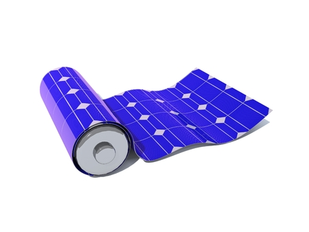 Foto de The battery is covered by a solar panel isolated on a white background. The concept of production, storage and storage of clean energy. 3D rendering. - Imagen libre de derechos