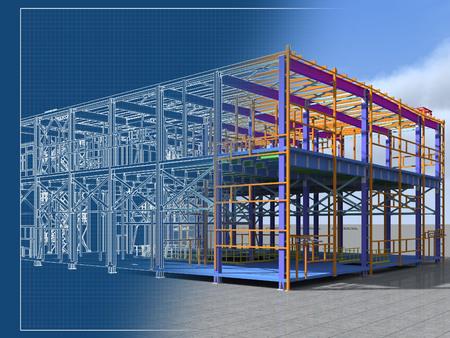 Foto de Building Information Model of metal structure. 3D BIM model. The building is of steel columns, beams, connections, etc. 3D rendering. Engineering, industrial, construction BIM background. - Imagen libre de derechos