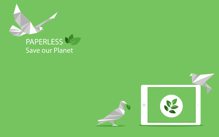Ilustración de concept of white paper bird fly paperless go green, save the planet, earth, tree, leaf logo, documents, digital, big data, business device, tablet, polygonal, Abstract, low poly style flat vector. - Imagen libre de derechos