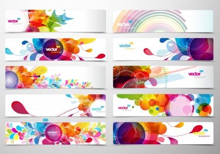 Photo pour Set of abstract colorful web headers.  - image libre de droit