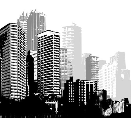 Foto de Black and white panorama cities. Vector art - Imagen libre de derechos