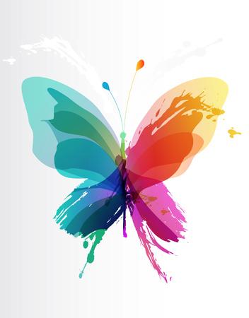 Ilustración de Colorful butterfly created from splash and colored objects. - Imagen libre de derechos