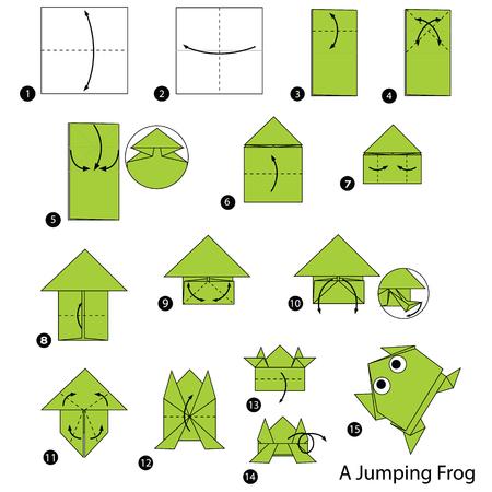 Ilustración de Step by step instructions how to make origami A Jumping Frog - Imagen libre de derechos