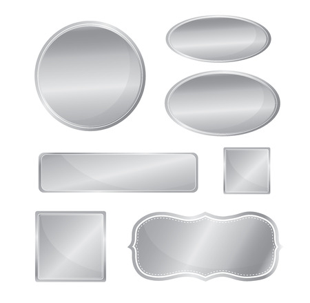 Illustration for Blank metallic icon set silver color - Royalty Free Image