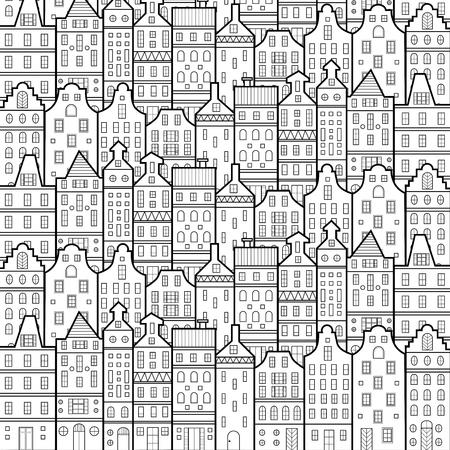 Illustration pour Amsterdam houses style pattern Netherlands black and white - image libre de droit