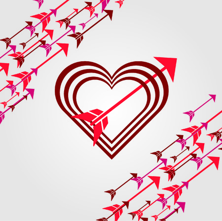 Ilustración de Heart poster with arrow decorations for valentines - Imagen libre de derechos