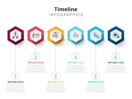 Ilustración de Business 6 step process chart infographics with step circles. Bright corporate graphic elements. Company presentation slide template. Modern vector info graphic layout design. - Imagen libre de derechos