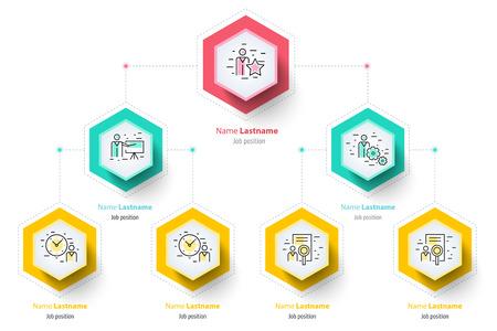 Ilustración de Business hierarchy organogram chart infographics. Corporate organizational structure graphic elements. Company organization branches template. Modern vector info graphic tree layout design. - Imagen libre de derechos