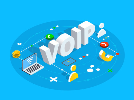 Illustration pour Voip isometric vector concept illustration. Voice over IP or internet protocol technology background. Network phone call software. - image libre de droit