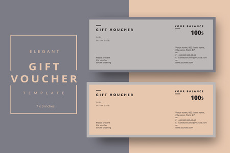 Illustration pour Abstract gift voucher card template. Modern discount coupon or certificate layout with geometric shape pattern. Vector fashion bright background design with information sample text. - image libre de droit