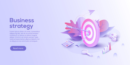 Illustrazione per Business analysis isometric vector illustration. Growth strategy or financial goal concept. Growing graph and target as successful entrepreneurship metaphor. - Immagini Royalty Free
