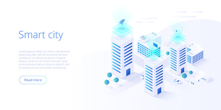 Illustrazione per Smart city or intelligent building isometric vector concept. Building automation with computer networking illustration. Management system or BAS thematical background. IoT platform as future technology. - Immagini Royalty Free