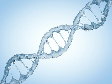 Foto de Close up of a diagonal DNA Chain of water. 3D rendering - Imagen libre de derechos