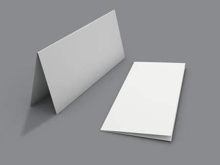 Photo for Blank portrait mock-up paper. Brochure, magazine, postcard isolated. 3D rendering - Royalty Free Image