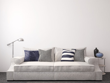 Modern living-room interior with couch near empty white wall. 3d render.