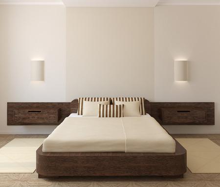 Photo pour Interior of modern bedroom. 3d render. - image libre de droit