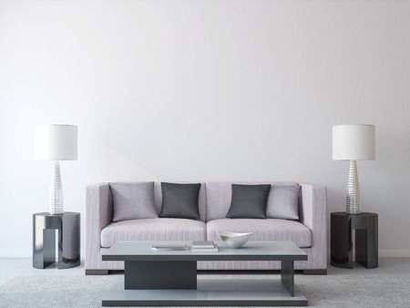 Foto de Modern living-room interior with couch. 3d render. - Imagen libre de derechos