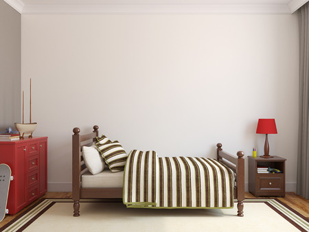 Foto de Bedroom for boy. Frontal view. 3d render. - Imagen libre de derechos