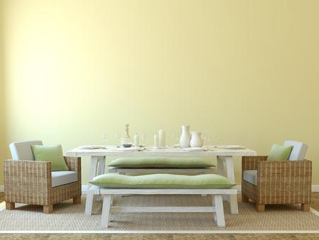 Modern dining-room interior. 3d render.
