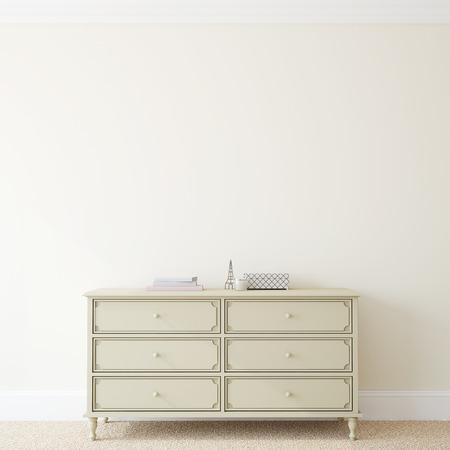 Foto de Interior with dresser near empty beige wall. 3d render. - Imagen libre de derechos