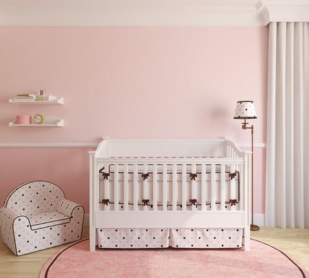Photo pour Interior of nursery for girl. 3d render. - image libre de droit