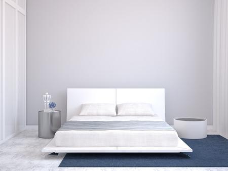 Photo pour Modern bedroom interior. 3d render. - image libre de droit