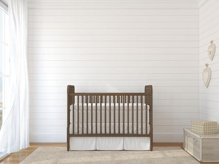 Photo pour Interior of nursery with vintage crib. - image libre de droit