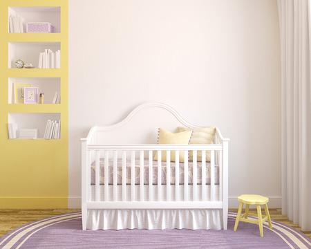 Photo pour Colorful interior of nursery. Frontal view. 3d render.  - image libre de droit