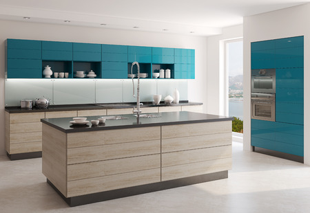 Photo pour Interior of modern kitchen. 3d  render. Photo behind the window was made by me. - image libre de droit