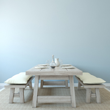 Photo pour Dining-room interior. Country style. 3d render. - image libre de droit