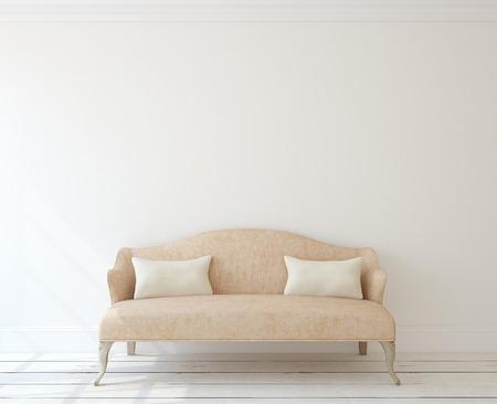 Foto de Interior with modern pink couch near white wall. 3d render. - Imagen libre de derechos