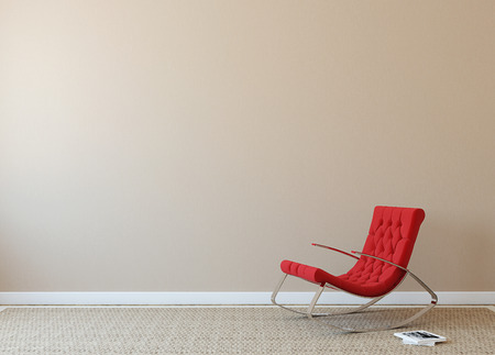 Foto de Modern interior with red armchair near beige wall. Photo on book cover was made by me. - Imagen libre de derechos