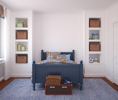 Photo pour Interior of boy's room. 3d render. - image libre de droit