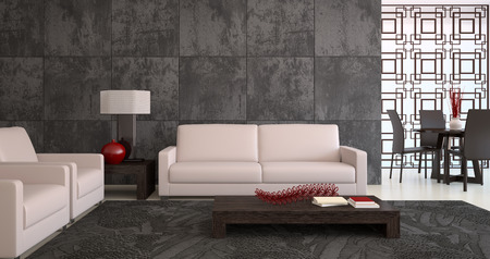 Modern living-room interior. 3d render.